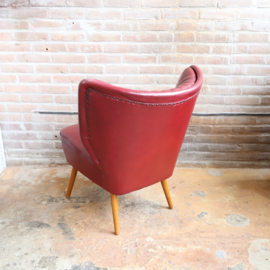 Vintage cocktail fauteuil donker rood