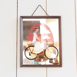 Spiegel plaat met fiets vintage