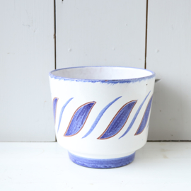 Vintage bloempot blauw wit