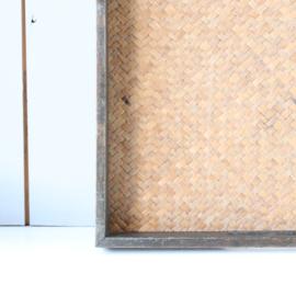 Vintage dienblad hout riet