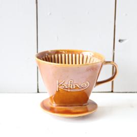 Vintage koffie filter houder oker geel