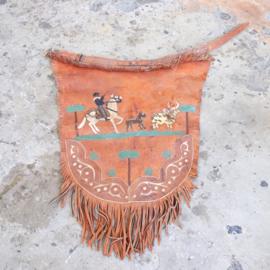 Vintage bohemian leren wandkleed cowboy
