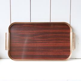 Vintage messing hout  dienblad