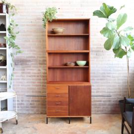 Vintage kast hoog ondiep boekenkast