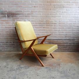 Vintage fauteuil velvet geel
