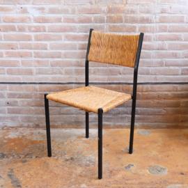 Vintage stoel rieten en metaal zwart