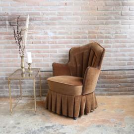 vintage fauteuil velvet bruin