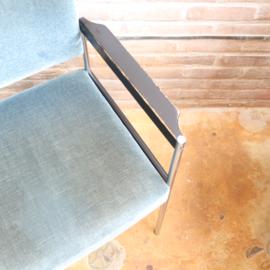 Vintage fauteuil velvet blauw