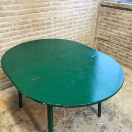 Vintage ronde eettafel groen