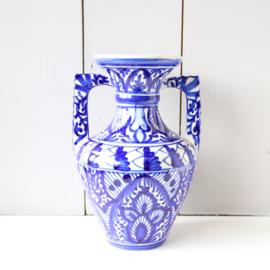 Vintage vaas blauw wit