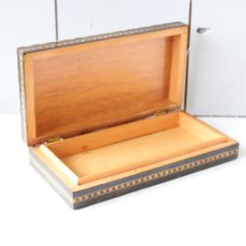 Vintage sieradenkistje hout