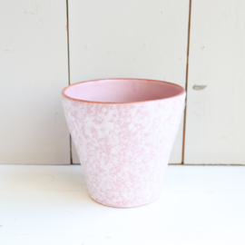 Vintage bloempot roze stippels
