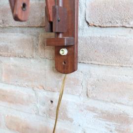 vintage schaarlamp hout