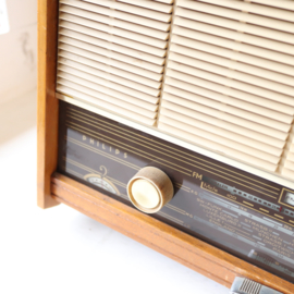 Vintage oude radio philips  hout