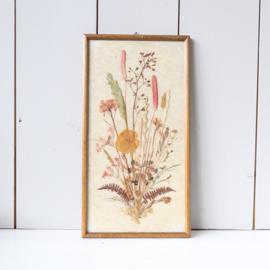 Vintage lijst droogbloemen schilderij groot