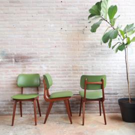 set. vintage stoelen groen skai