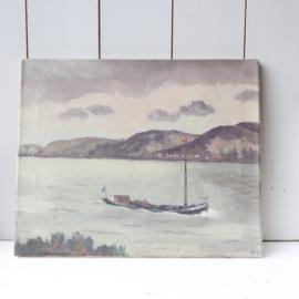 Oud schilderij boot