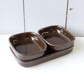 Set bakjes bruin keramiek