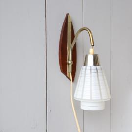 Vintage jaren 60 teak wandlamp
