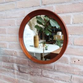 Vintage teak spiegel rond