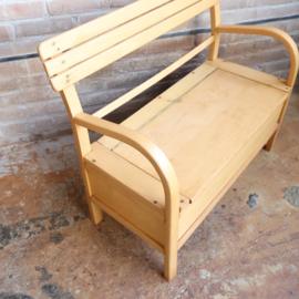 Vintage houten klepbankje