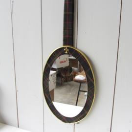 Vintage spiegel groen geruit messing