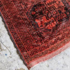 Vintage oud perzisch tapijt rood roze 250x205
