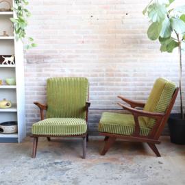 Set vintage fauteuils jaren 60 groen velours