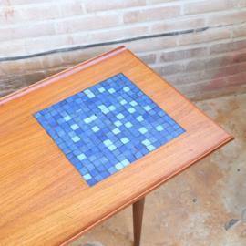 Vintage salontafel teak lang mozaiek