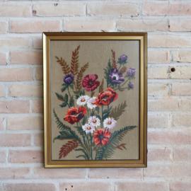Vintage bloemen borduurwerk groot