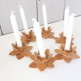 Vintage houten bloemen krans kandelaar
