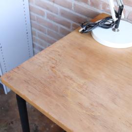 Vintage industrieel bureau  zwart hout