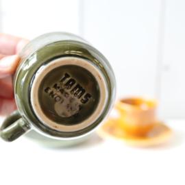 set kop en schotel vintage geel groen