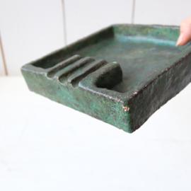 Vintage asbak aardewerk groen