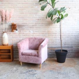 Vintage velvet fauteuil roze