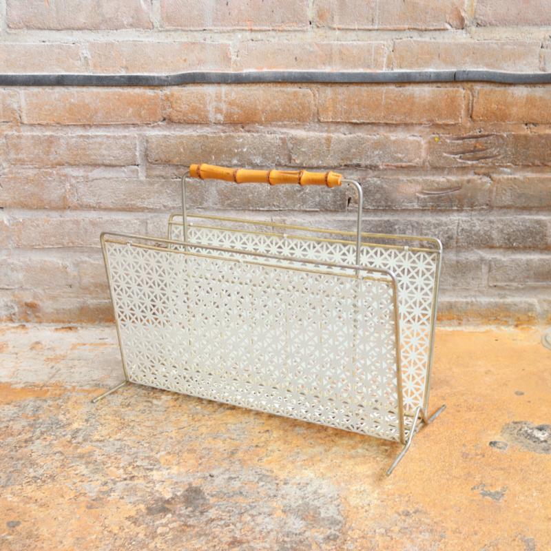 Vintage lectuurmand metaal bamboo