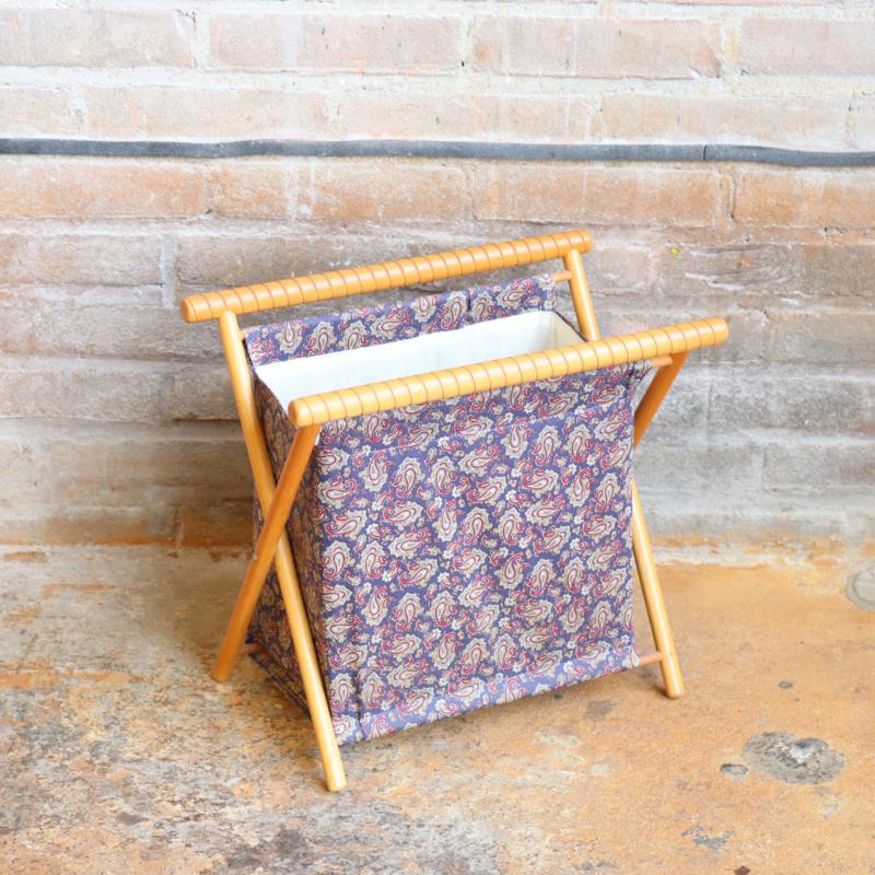 Vintage naaimandje stof hout