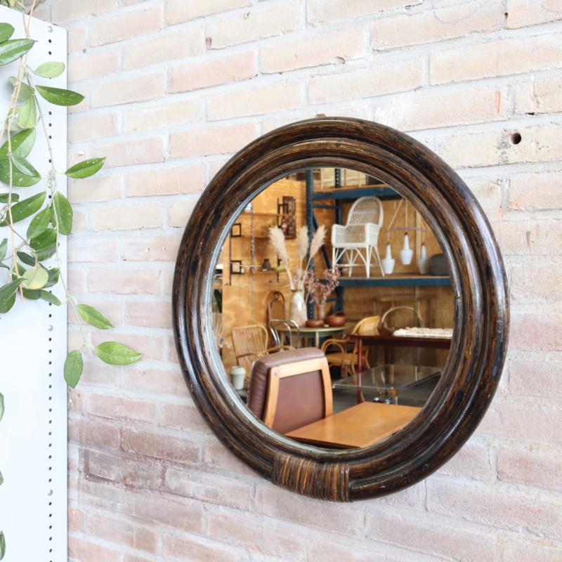 Grote spiegel rond rotan bamboe vintage