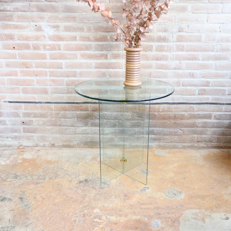 Vintage bijzettafel glas messing rond