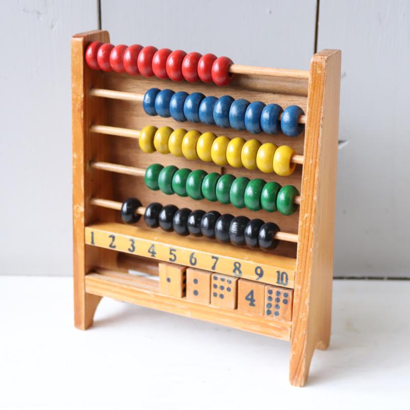 Vintage telraam klok speelgoed