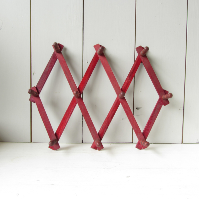 Vintage schaarkapstok rood