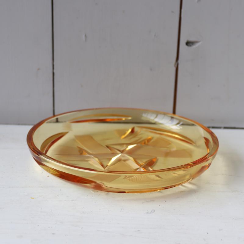 Vintage gekleurd geel glas schaal