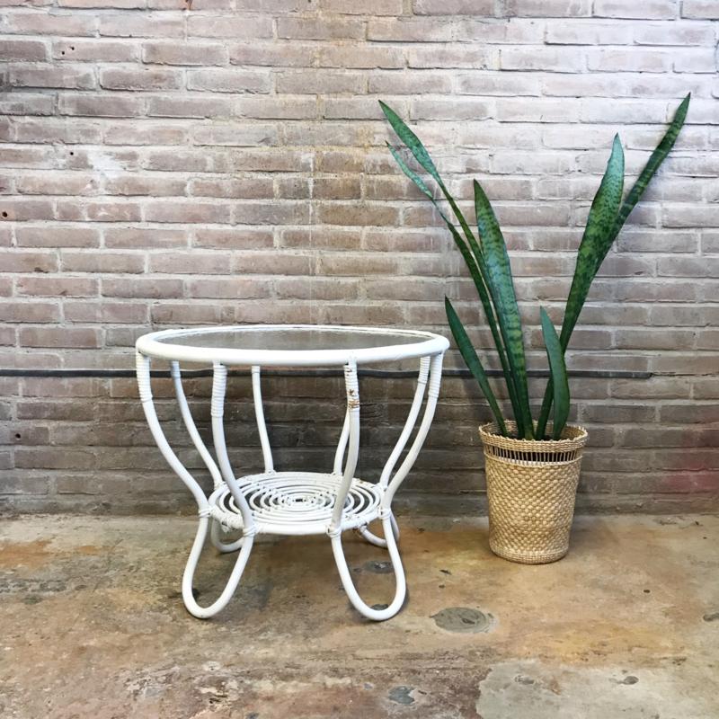 vintage rotan salontafel rond