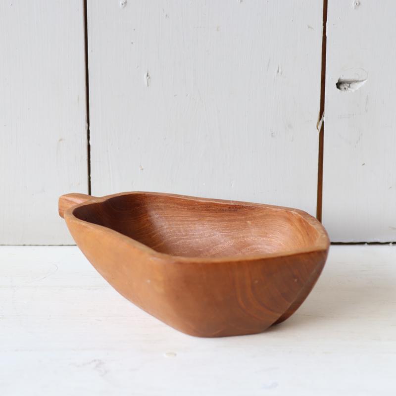 Vintage houten teak schaal peer
