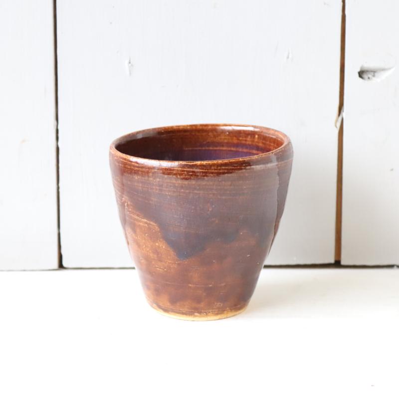 Vintage bloempot klein bruin