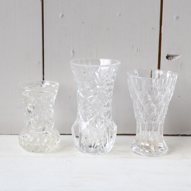 set 3 vintage kristal vaasjes