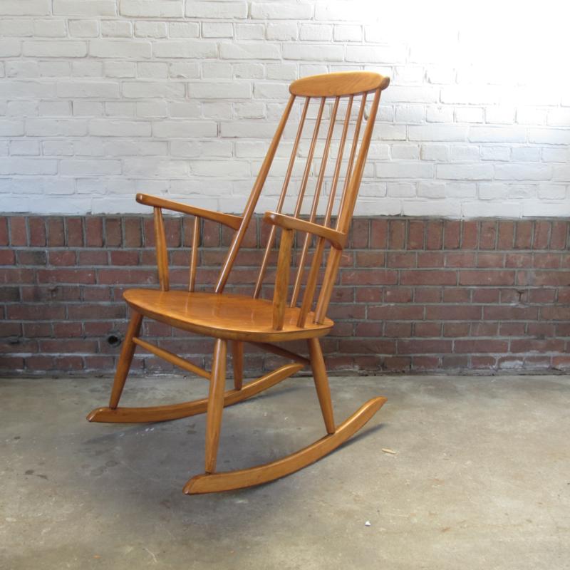 Uitgelezene Vintage spijlen schommelstoel hout | fauteuils & stoelen | Meutt BV-81