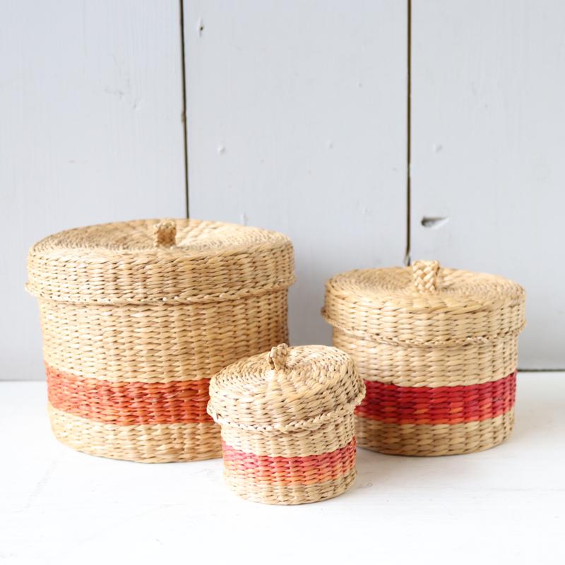Set rieten opberg mandje met deksel