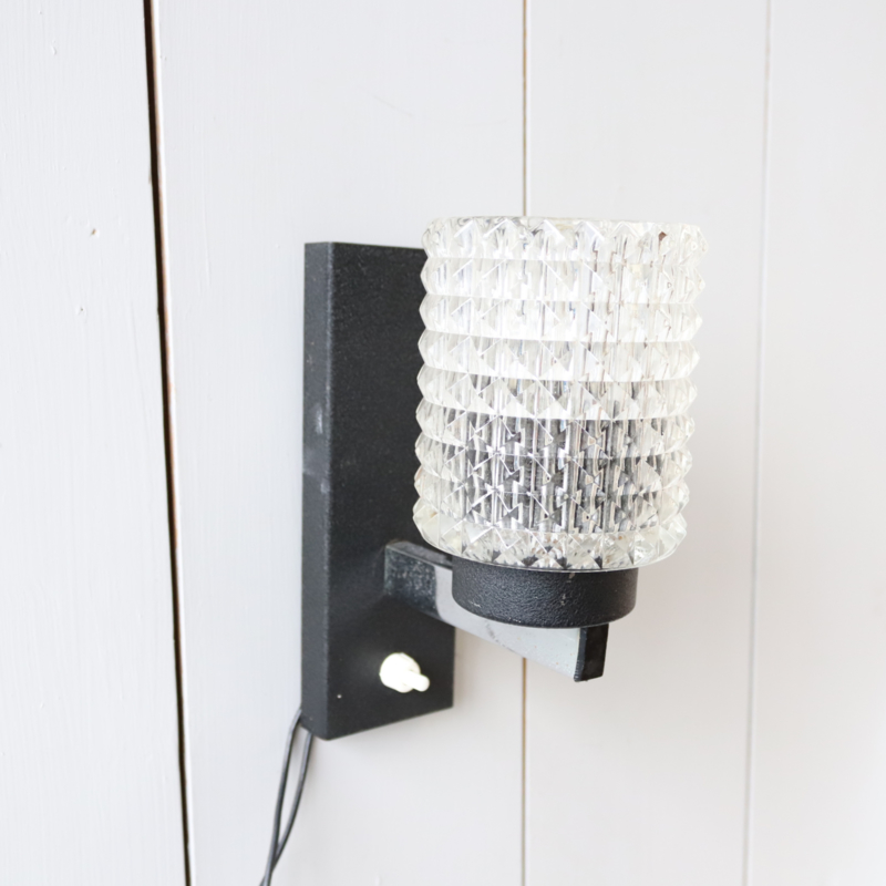 Vintage wandlampje glas zwart