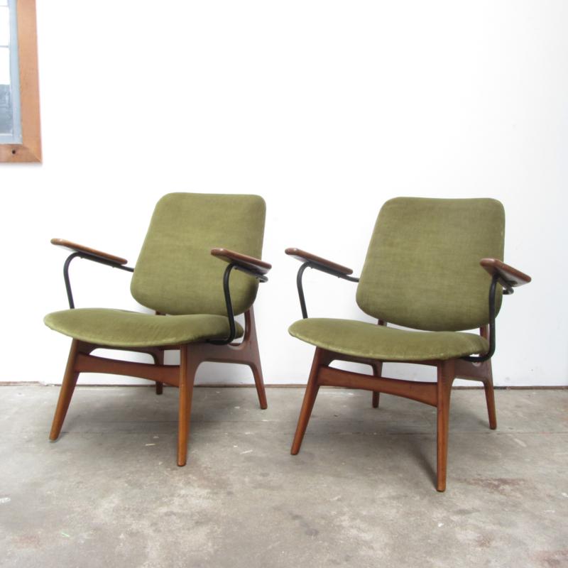 2 Vintage Fauteuils.Vintage Set 2 Fauteuils Groen Velour Verkocht Meutt